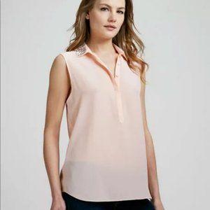 Rebecca Taylor Bead-Collar Silk Blouse- Size 6